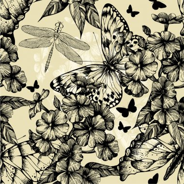 Seamless pattern with blooming phlox, butterflies and dragonflie