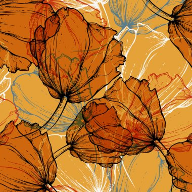 Seamless pattern with blooming tulips, hand-drawing. Vector illu