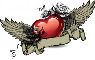 Emblem with red hearts, roses and wings. Vector illustration.