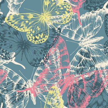 Seamless pattern with colorful butterflies flying. Vector illust