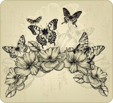 Floral background with flowers and flying butterflies, vector il