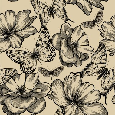 Seamless pattern with roses and butterflies, hand drawing. Vecto
