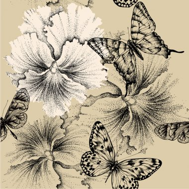Seamless pattern with pansies and butterflies. Vector illustrati