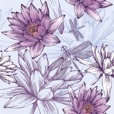 Seamless pattern with water lilies and dragonflies. Vector illus