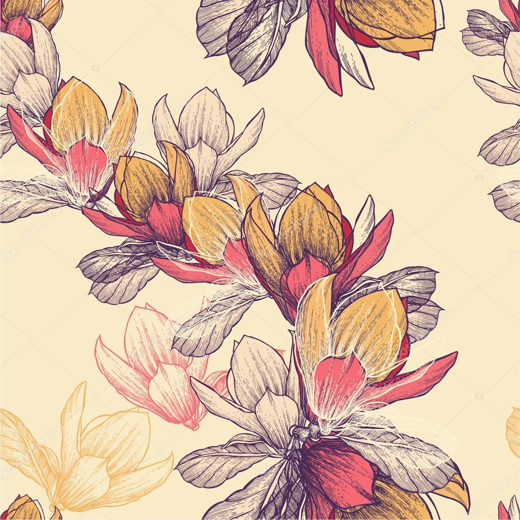 Seamless pattern with blooming magnolia flowers, hand-drawing. V