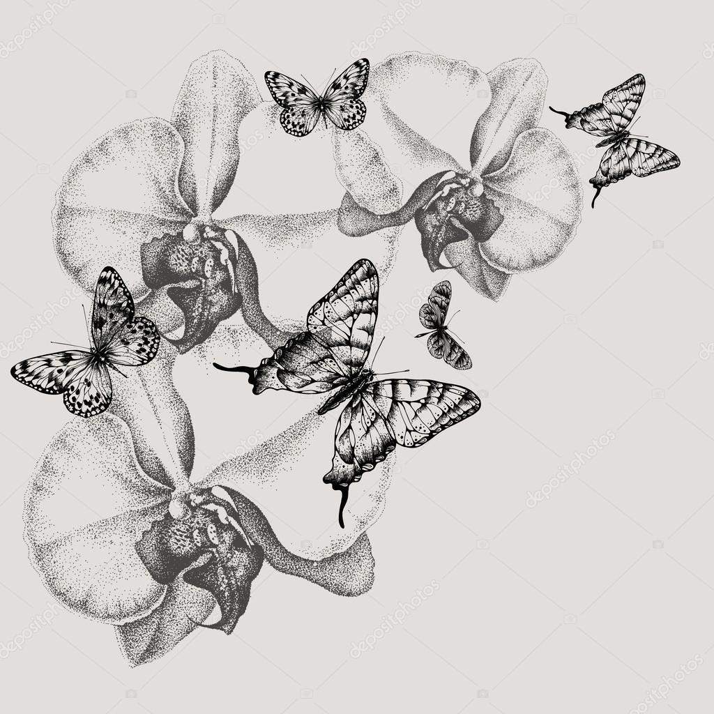 Floral background with blooming orchids and butterflies, hand-dr