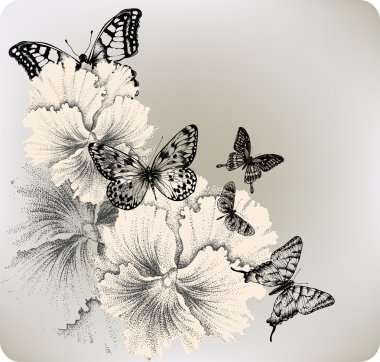 Background with flowers pansies and butterflies. Vector illustra