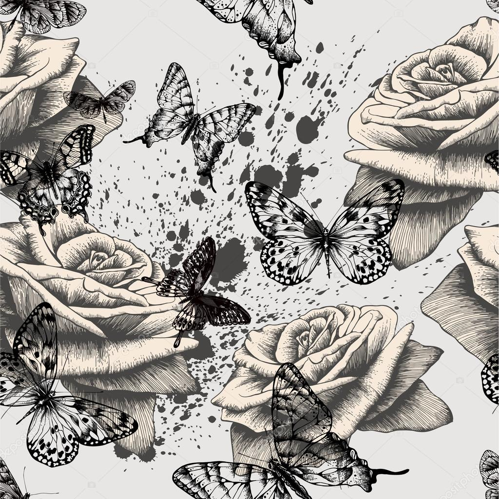 Seamless pattern with blooming roses and black butterflies. Vect