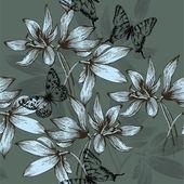 Fotografie bezešvé vzor modré květiny a motýli, ruční kreslení