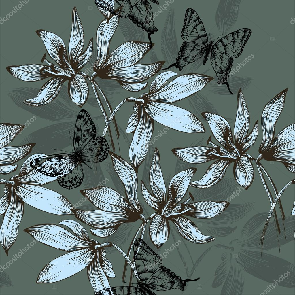 Seamless pattern with blue flowers and butterflies, hand-drawing