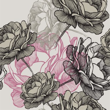 Seamless pattern with blooming roses on gray background, hand drawing. Vector illustration.