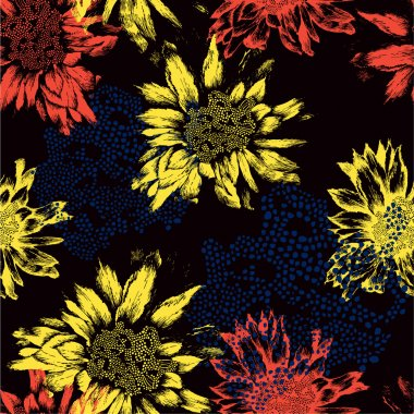 Seamless pattern with abstract flowers on black background. Vect