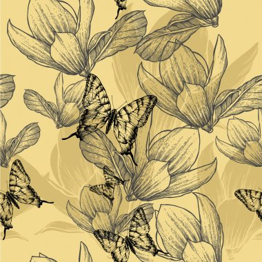 Seamless pattern with blossoming magnolias and butterflies, vect