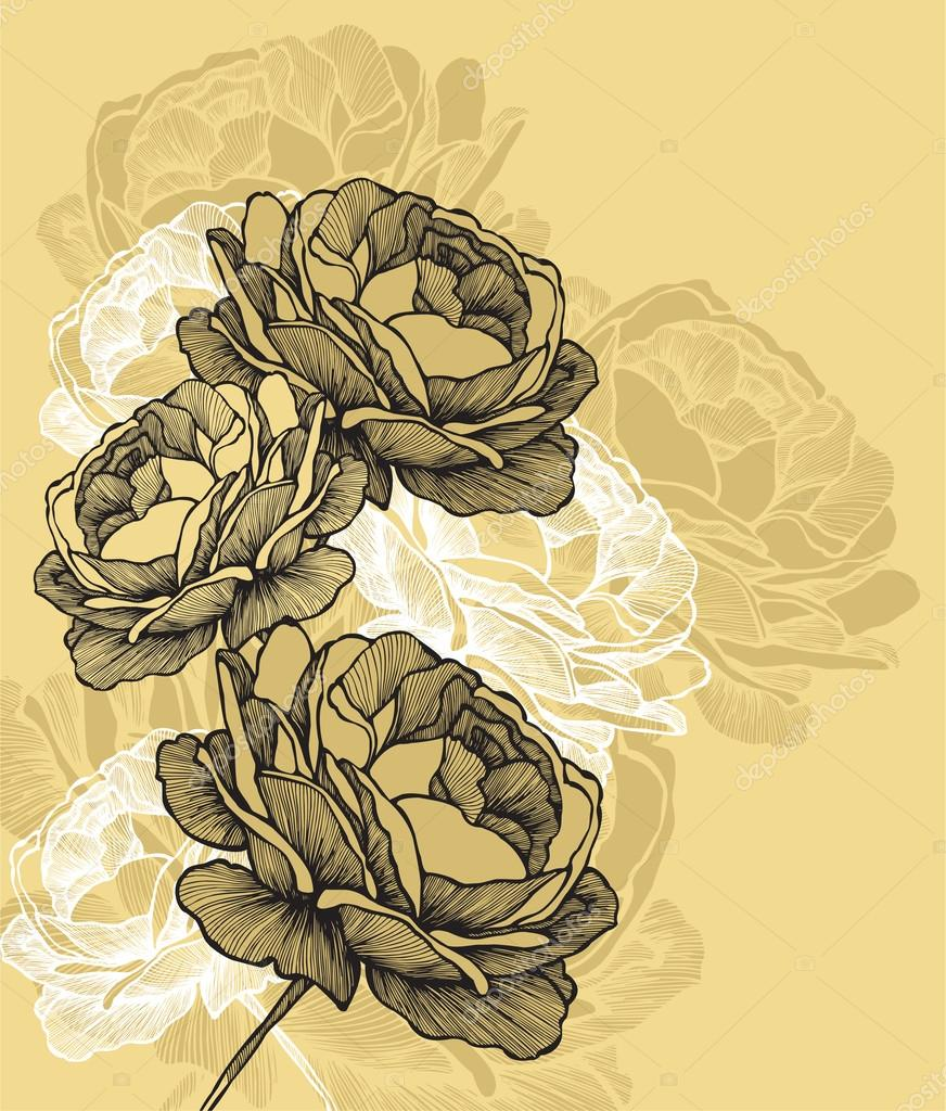 Floral background with blooming roses, hand-drawing. Vector illu
