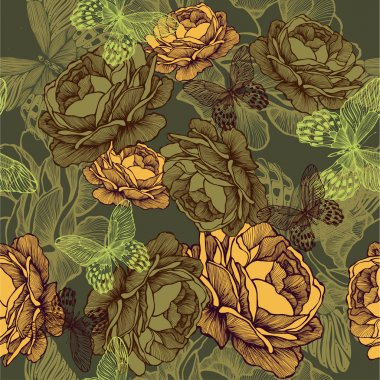 Vintage seamless background with roses and butterflies. Vector i