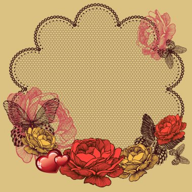 Background with blooming roses, lace napkin and butterflies. Vec