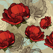 Fotografie bezešvé vzor s abstraktní červenými květy. vektorové ilustrace