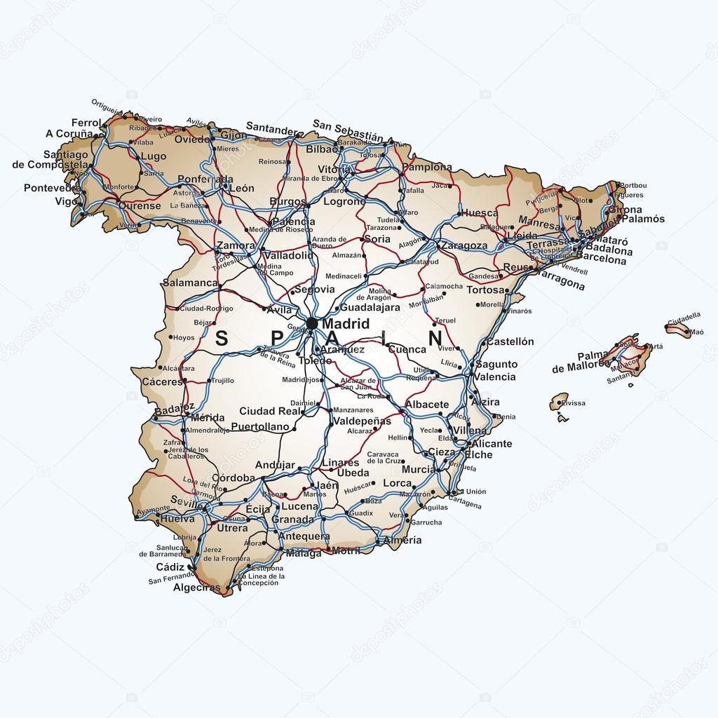 Road Map Of Spain Stock Vector C Paulrommer 19938753
