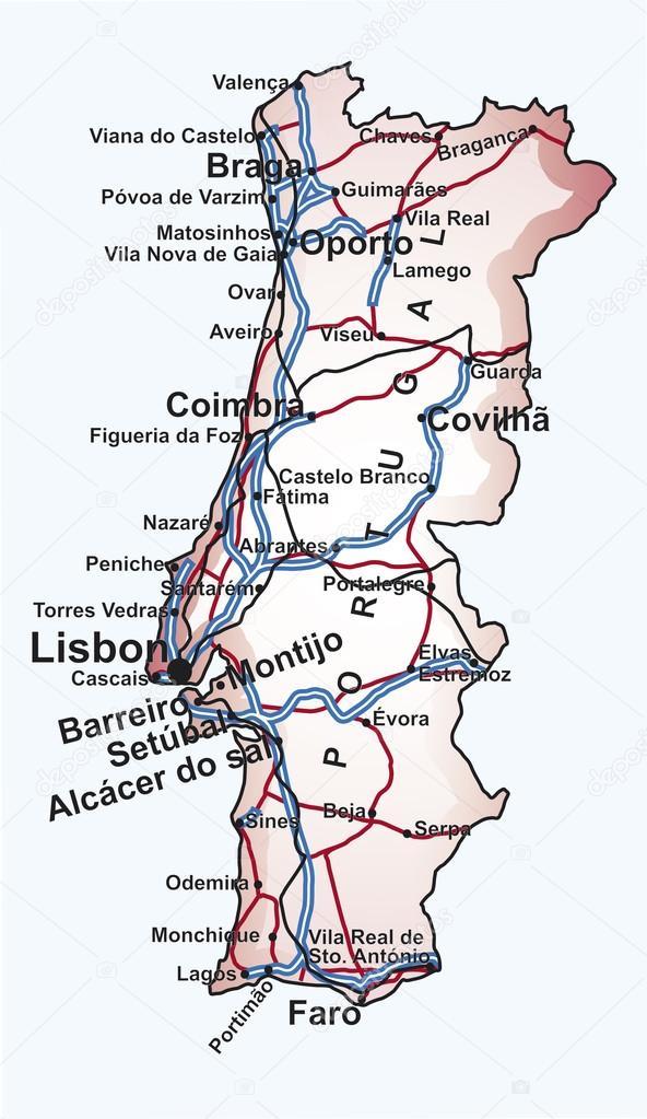 mapa das linhas ferroviarias de portugal roteiro de portugal — Vetor de Stock © paulrommer #20120669 mapa das linhas ferroviarias de portugal