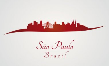 Sao Paulo skyline in red