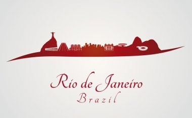 Rio de Janeiro skyline in red and gray background in editable vector file stock vector