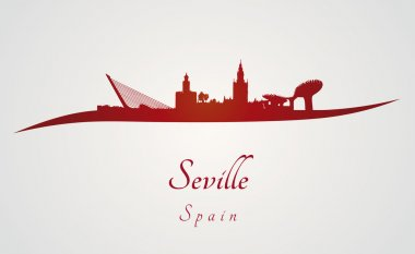 Seville skyline in red