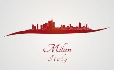 Milan skyline in red