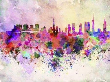 Tokyo skyline in watercolor background
