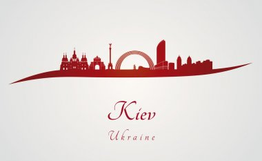 Kiev skyline in red