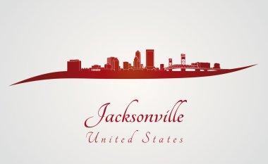 Jacksonville skyline in red