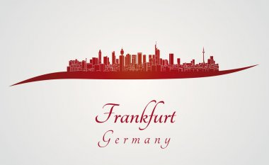 Frankfurt skyline in red