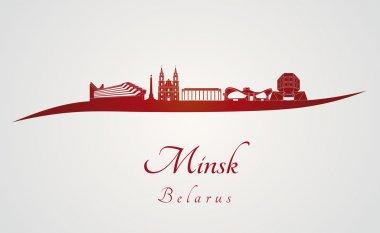 Minsk skyline in red