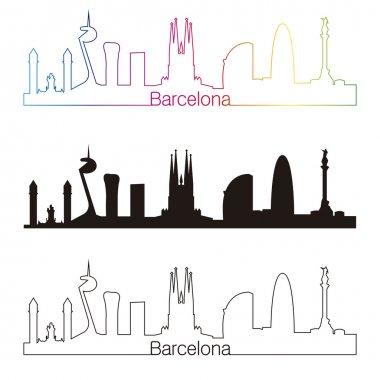 Barcelona skyline linear style with rainbow