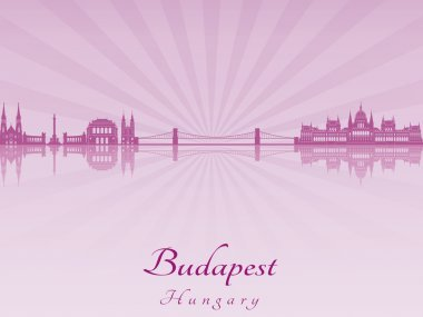 Budapest skyline in purple radiant orchid