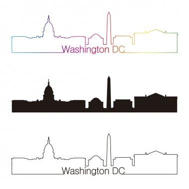 Washington DC skyline linear style with rainbow