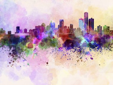 Detroit skyline in watercolor background
