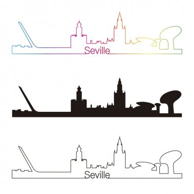 Seville skyline linear style with rainbow