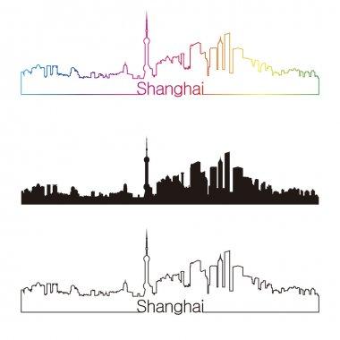 Shanghai skyline linear style with rainbow