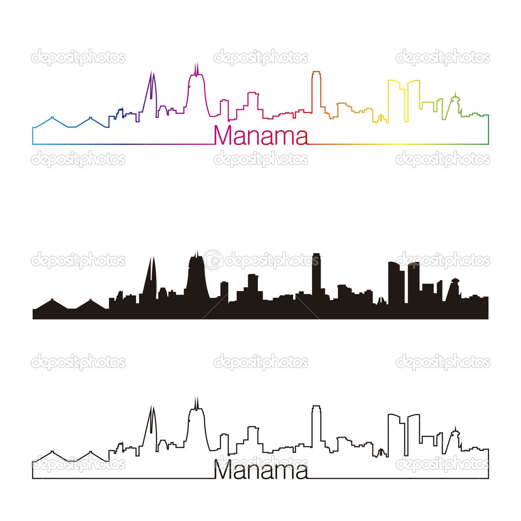 8e00e594eb24 Manama skyline linear style with rainbow Vector Graphics