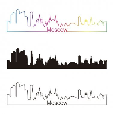 Moscow skyline linear style with rainbow