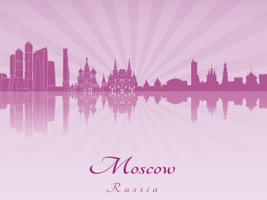Moscow skyline in purple radiant orchid