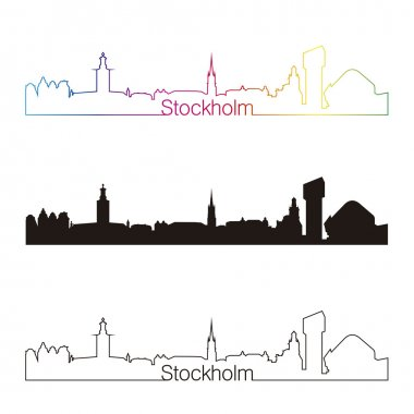 Stockholm skyline linear style with rainbow