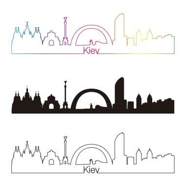 Kiev skyline linear style with rainbow