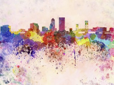 Jacksonville skyline in watercolor background