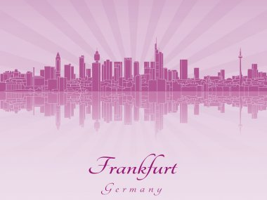 Frankfurt skyline in purple radiant orchid