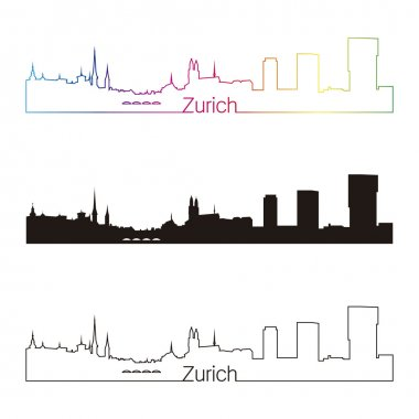 Zurich skyline linear style with rainbow