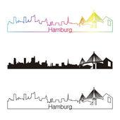 Fotografie style linéaire de Hambourg skyline avec arc-en-ciel