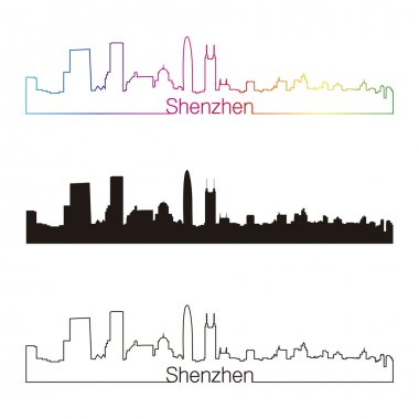 Shenzhen skyline linear style with rainbow