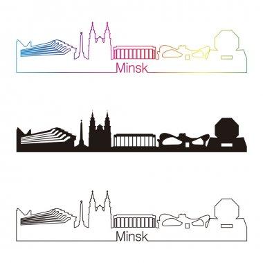 Minsk skyline linear style with rainbow