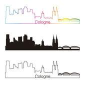 Kölner Skyline linearer Stil mit Regenbogen